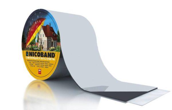 Лента герметизирующая самоклеющ, длина 3 м, ширина 5 см, серебр. Nicoband