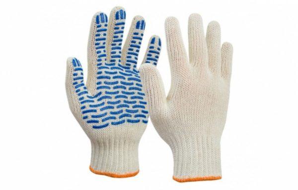 Перчатки хб с ПВХ премиум белые