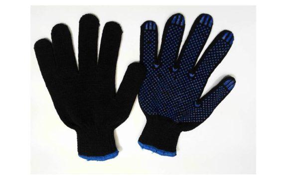 Перчатки хб с ПВХ черные Барс