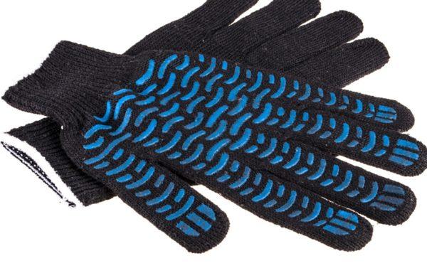Перчатки хб с ПВХ черные Стандарт