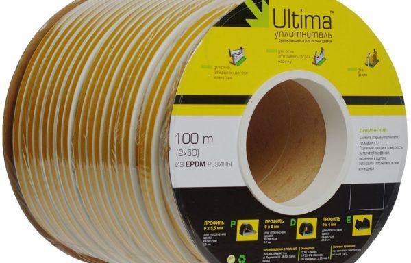 Уплотнитель D-профиль 100 м белый, Ultima