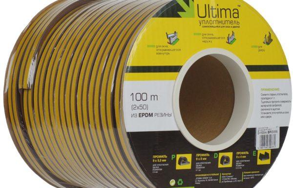 Уплотнитель D-профиль 100 м коричневый, Ultima
