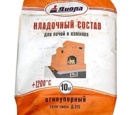Кладочный состав для печей и камин Д375 +1200 Диола 25 кг
