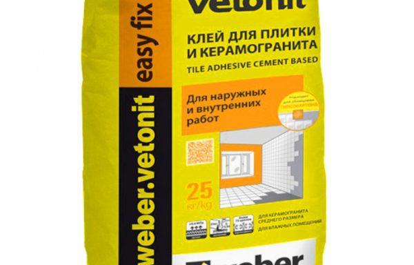 Клей плиточный для внутр и наруж работ easy fix Weber Vetonit 25 кг