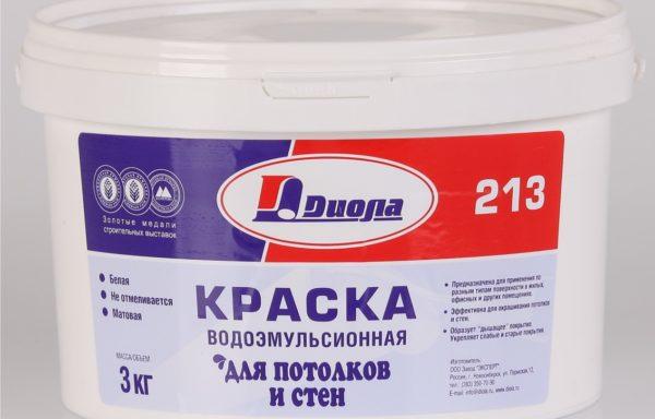 Краска водоэмульсионная для потолков и стен Д213 Диола 4,5 кг