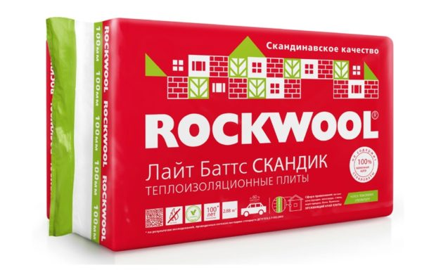 Теплоутеплитель Лайт баттс скандик 800х600х100 мм Rockwool